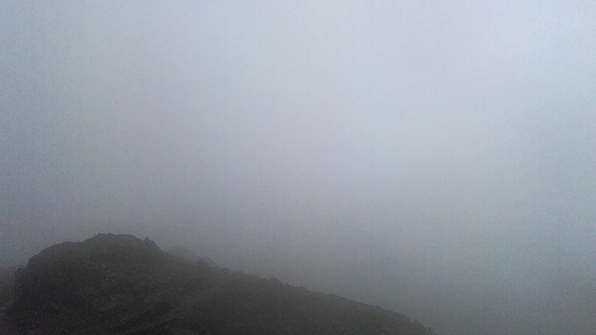 Inside a cloud on a mountain.