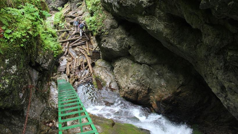 Steep green ladder above a waterfall in Veľký Sokol gorge.