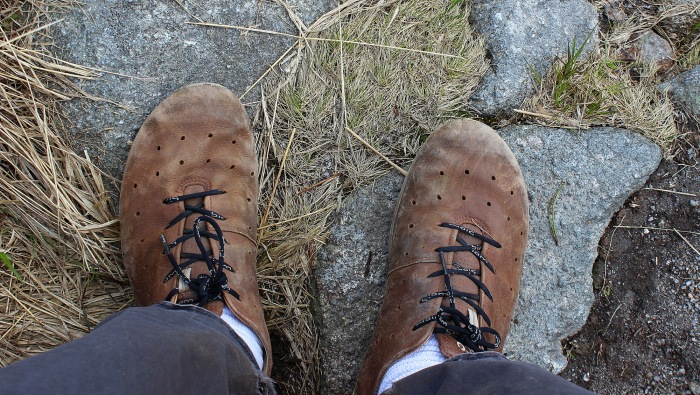 Amateur hiking tips for day hiking. Worn Ecco Biom leather shoes on rock.