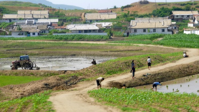 North Korea from the train window. North Korea (DPR Korea) countryside.